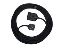 10m single socket heavy duty 13amp black extension lead